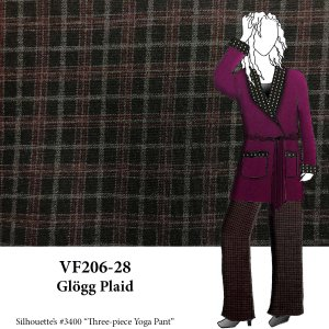 VF206-28 Glögg Plaid - Maroon and Grey on Black Ponte di Roma Fabric with Heather Grey Reverse