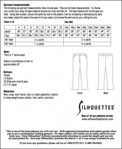 Silhouette Patterns #3600 Ralph's Pant - by Peggy Sagers